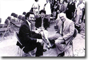 Belva, Rev. Jesse Jackson and Political Reporter Rollin Post 1988 Democratic convention